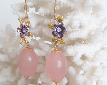 Earrings with Rose Quartz, enamel and silver flowers