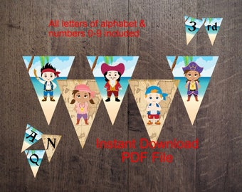 INSTANT DOWNLOAD - instant Dowload-Jake Pirate Party Banner/Jake Pirate Party Pennant