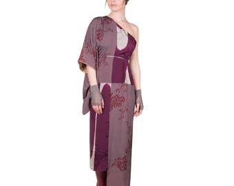 Asymmetrical dress kimono