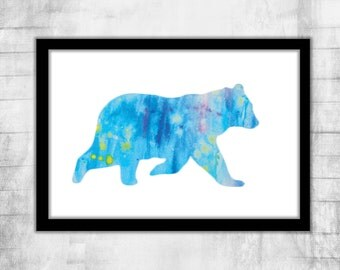 Galaxy Polar Bear  poster Wall Art bear illustration watercolor cute bear Fine art print Animal poster Digital  Watercolor space print