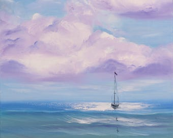 Sailboat Painting, Ship, Original Seascape Oil Painting on Canvas, Boat Painting, Blue, Coastal Landscape Painting