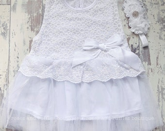 White Baby Dress, Baby Girl Dress, Toddler Dress, Baptism Dress, Baby Photo Prop, Birthday Dress, Vintage Style Baby Dress,