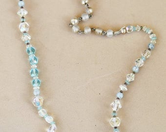 ON SALE Blue crystal and aurora borealis beaded necklace