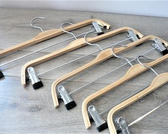 Vintage Bent Wood Skirt Pant Hangers Lot of 5 Set of 5 Clip Hangers Closet Wood Clothes Hangers