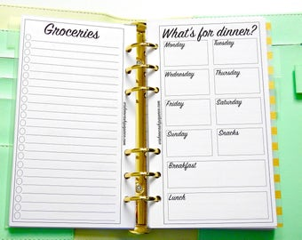 Personal Planner Inserts - Meal Planning Inserts - Grocery Shopping Inserts - Personal Planner Inserts - Meal Inserts - Weekly Inserts