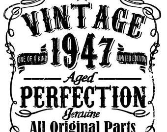 Vintage birthday - 1937, 1947, 1957, 1967, 1977 all included - svg files