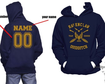 SEEKER - Custom back, Ravencl Quidditch team Seeker YELLOW print printed on Navy Hoodie