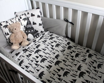 Black, White and Grey Woodland themed cot set