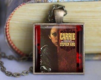 CARRIE Stephen King Book Necklace Book Jewelry CARRIE Stephen King Literature Necklace Literature Jewelry Literary Book Lover Gift Keychain