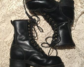 Black granny combat Georgia boots 90's vintage Size 7.5 8