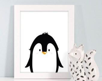 Buy One Get One, Penguin Nursery, Nursery Print, Kids Art Print, Monochrome Nursery Decor, Kids Wall Art, Black White Nursery, Penguin Print