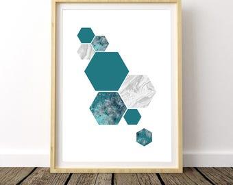 Geometric Marble Print, Hexagon Marble, Geometric Wall Art, Hexagon Print, Hexagon Art Print, Hexagon Marble Print, Geometric Marble Art