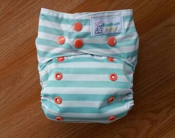 Mint / coral stripes cloth diaper - AIO cloth diaper - one size cloth diaper - cotton velour - hemp bamboo - wahm cloth diaper