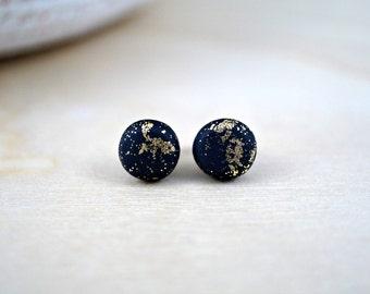 Black stud earrings, black studs, matte black studs, black flat studs, round earrings, polymer clay jewelry, everyday earrings
