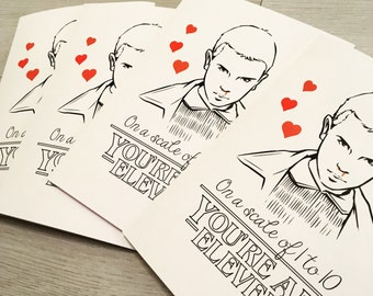 Stranger Things Eleven Valentines Score Out Of 10 / 11 Greetings Card / TV / Netflix