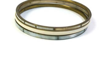 Lot vintage brass and mother of pearl bracelet