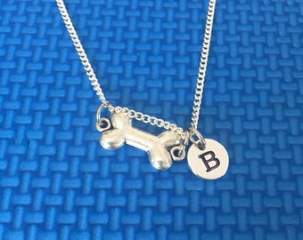 dog bone necklace ,Jewelry, Silver Jewelry, dog bone jewelry, dog lover gift CP32