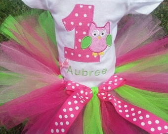 Pink Green Owl 1st Birthday Outfit Onesie Tutu FREE Hair Bow Personalized