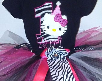 Zebra Hot Pink Hello Kitty 1st Birthday Onesie Tutu FREE Hair Bow Personalized Little Girl Baby