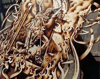 St. Michael Woodburning/ pyrography