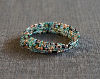 Multi-Colored Blue Slinky Bracelet