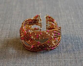 Gold Structured Wire Cuff Bracelet