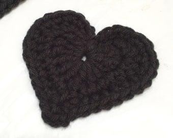 Crochet Heart, Large Crocheted Heart, Heart Appliqué, Set of 5