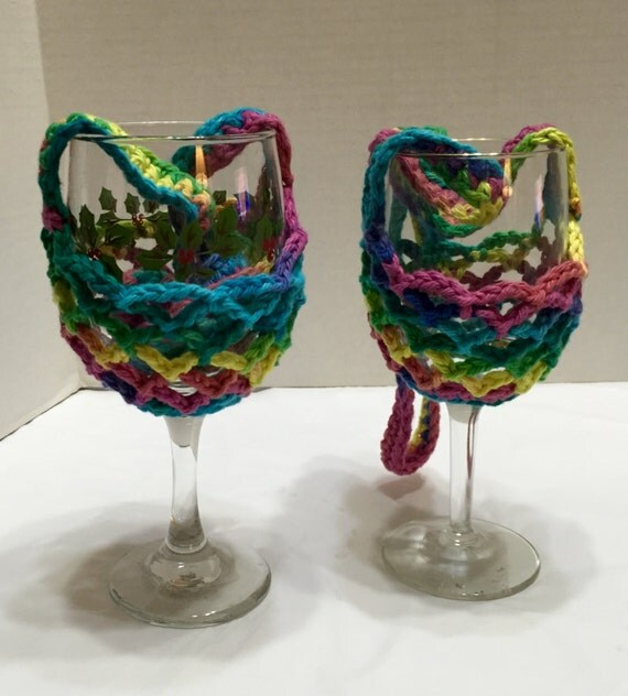 Free Pattern Crochet Wine Glass Holder : Crochet Wine Glass Holder Wine Glass Cozy Crocheted Wine