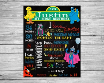 First Birthday Chalkboard/1st Birthday Chalkboard/Sesame Street Chalkboard/Sesame Street Decorations/Sesame Street Party/Sesame Street Theme