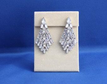 Vintage Rhinestone Earrings, Art Deco Vintage Rhinestone Earrings, Art Deco Emerald and Pear Cut Rhinestone Earrings, Large Rhinestone