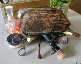Beautiful brown brindle cowhide cosmetic bag! Makeup bag