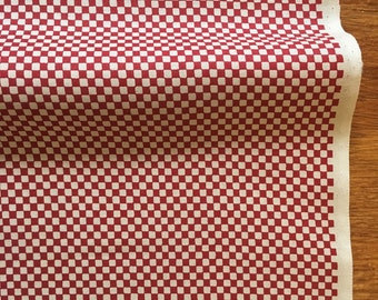1/2Yard /Gingham Plaid Fabric /Ichimatsu/Japanese Cotton/ Made in Japan/Red