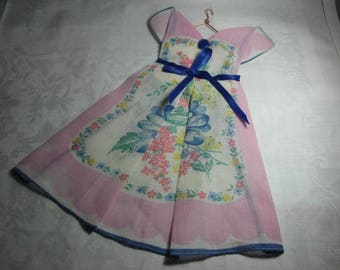 Origami folded vintage handkerchief dress with hand crafted hanger perfect for framing PLUS 1.00 DOLLAR SHIPPING