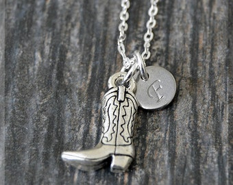 Silver Cowboy Boot Charm Necklace, Initial Charm Necklace, Personalized, Boot Pendant, Cowboy Jewelry, Monogram Boot Necklace, Cowgirl