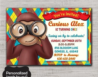 Curious George Birthday invite,Curious George Birthday invitation,JPG file,Birthday Invite,Curious George invitation,Curious George,DPP81