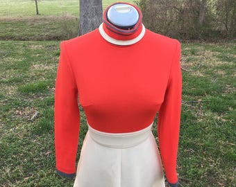 Double Knit Polyester Fit and Flare Circle Skirt Orange and Gray Turtle Neck Dress