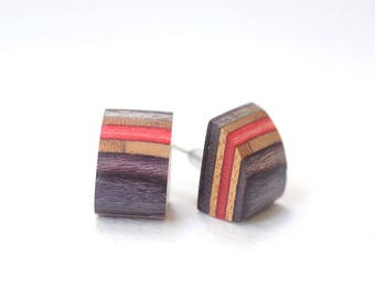 Wooden Earrings, Wood Earrings, Recycled Skateboard Earrings, Recycled Skateboard Jewelry, Eco Friendly