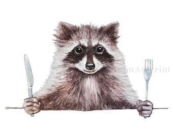 Raccoon Print Funny animal Art Woodland Animals Baby Nursery Watercolor Print Kitchen Art Country Home Decor Raccoon Gifts Raccoon Painting