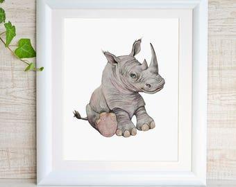 Sweet Rhino Art Baby Rhino Print Safari Nursery wall Art Rhinoceros Watercolor Painting Baby Animal Prints Kids Gray Nursery Decor Girl Boy