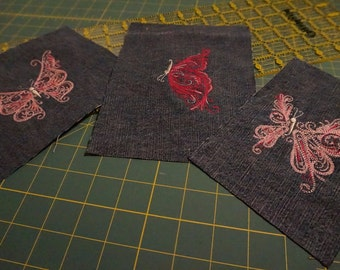 Embroidered Butterfly Denim Patchwork Set 003 - 3 pieces (pink/hot pink)