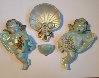 1966 Miller Studio Cherub Angel Wall Hangings with center display teal gold