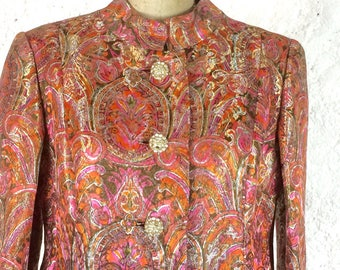 Malcolm Starr Incredible Pink Lame 1970s dress Coat with Diamanté button