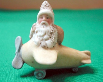 Miniature Bisque Santa in Airplane, 1920's, Darling! #8584
