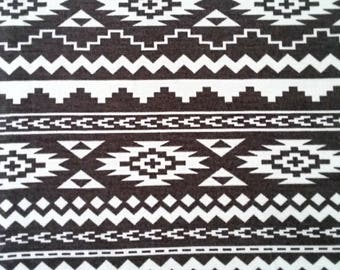 SALE Knit fabric, Aztec Fabric, Tribal fabric, Fabric by the Yard, Grey knit fabric, Gray, White, Ponte de Roma, Remnant, Dress, Leggings
