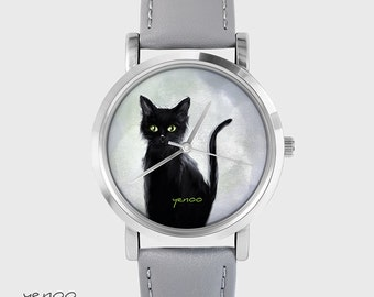 Bracelet Watch - Black cat - grey, leather