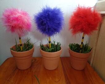 Miniature Truffula Trees - Table Top, Photography Prop, Birthday Pom Tree -