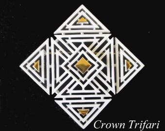 Trifari Geometric Pin * Crown Trifari Enamel Brooch * White And Gold Pin * Vintage Modernist Brooch