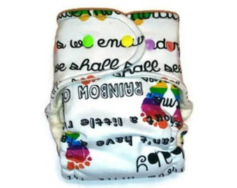 Rainbow Baby Diaper - Hybrid Cloth Diaper - Rainbow Baby Gift- One Size Diaper - Baby Shower Gift - Fitted Cloth Diaper - Gender Neutral