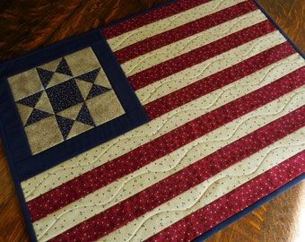 Quilted Patriotic/Flag/ Wall Hanging/Table Topper in country colors of red, blue and cream fabrics