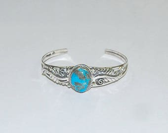 Naturaleza Manchado | Sterling Silver Cuff With Turquoise